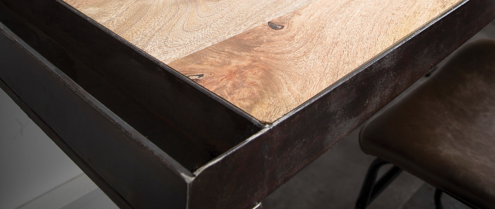 Scrivania design industriale legno massiccio L156 cm INDUSTRIA
