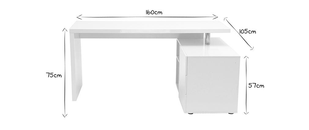 Scrivania design laccata bianca cassettiera lato destro MAXI - Miliboo