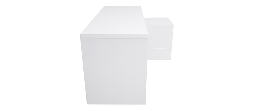 Scrivania design laccata bianca cassettiera lato destro MAXI