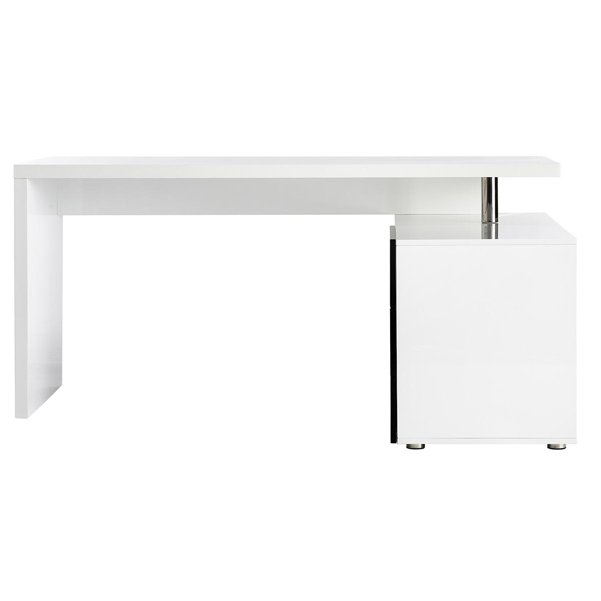 Scrivania design laccata bianca e nera cassettiera lato destro MAXI
