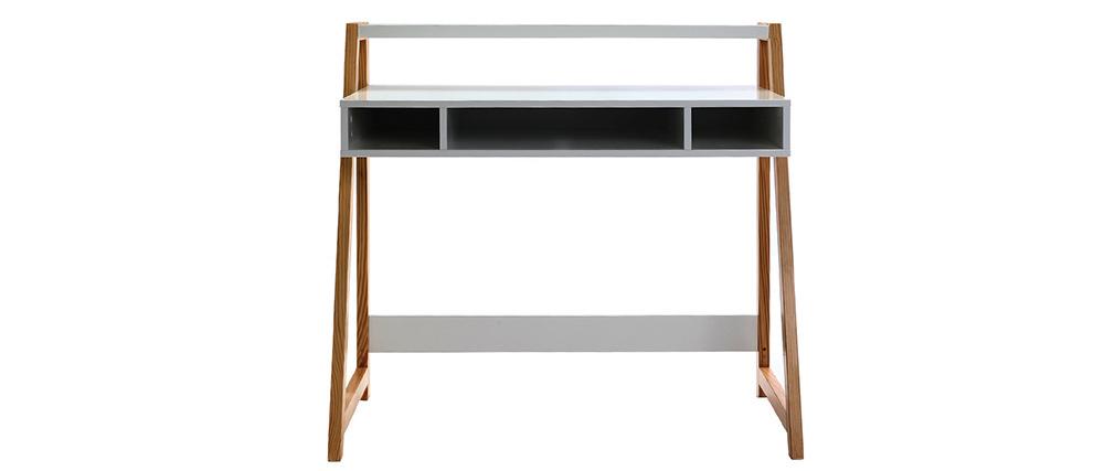 Scrivania design laccata colore bianco opaco e legno STOKA