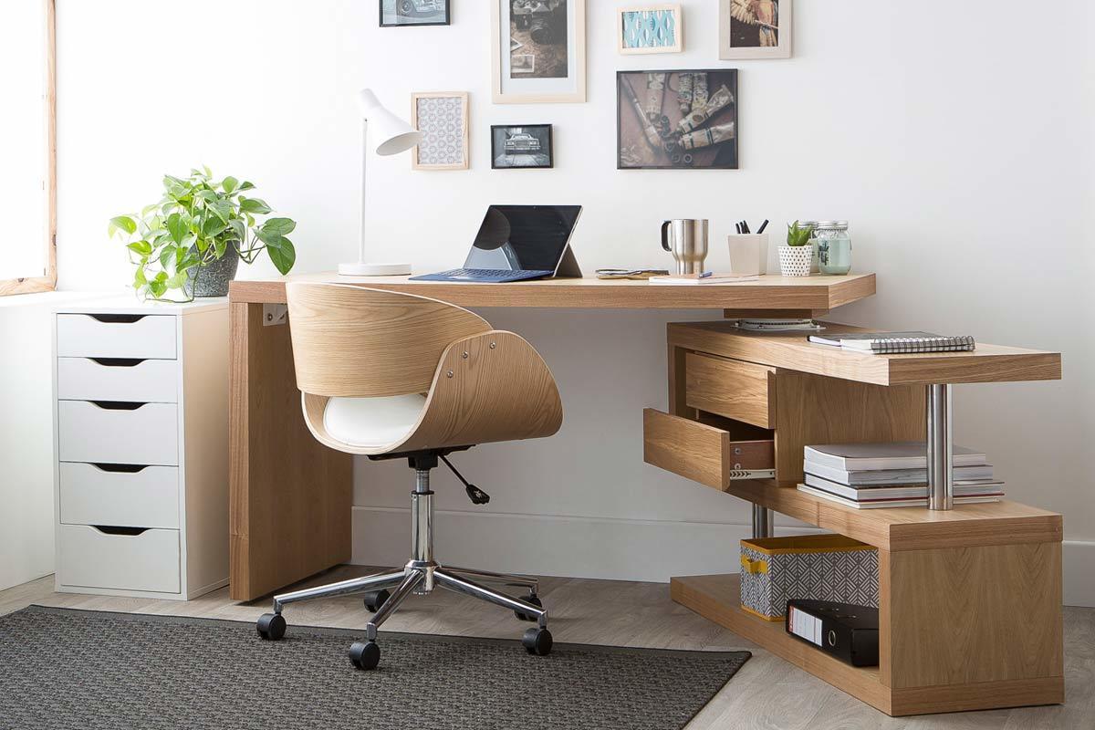 Scrivania design legno max miliboo for Scrivania design