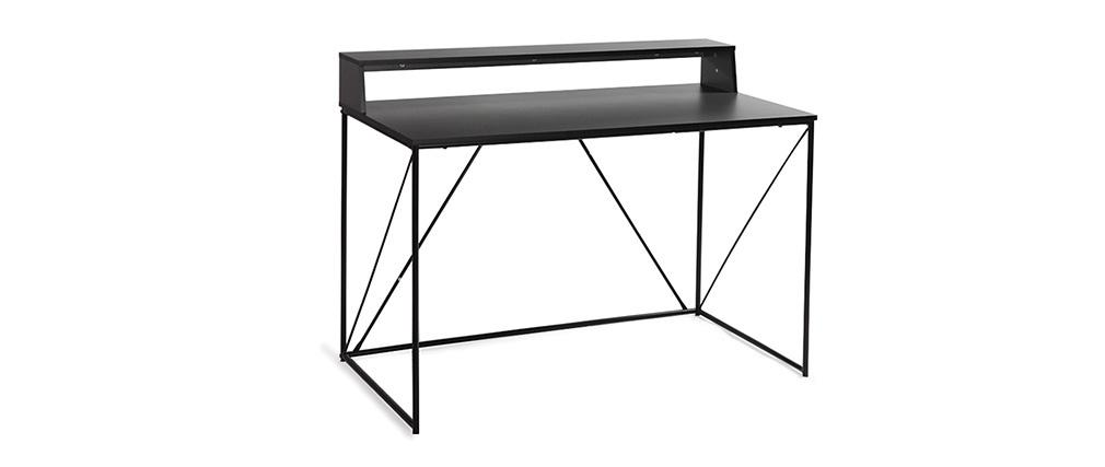 Scrivania design metallo grigio e nero WALT