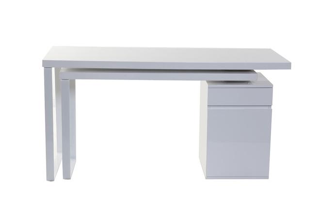 Consolle Scrivania Con Finiture Lucide.Scrivania Design Mobile Bianco Lucido Voxy Miliboo