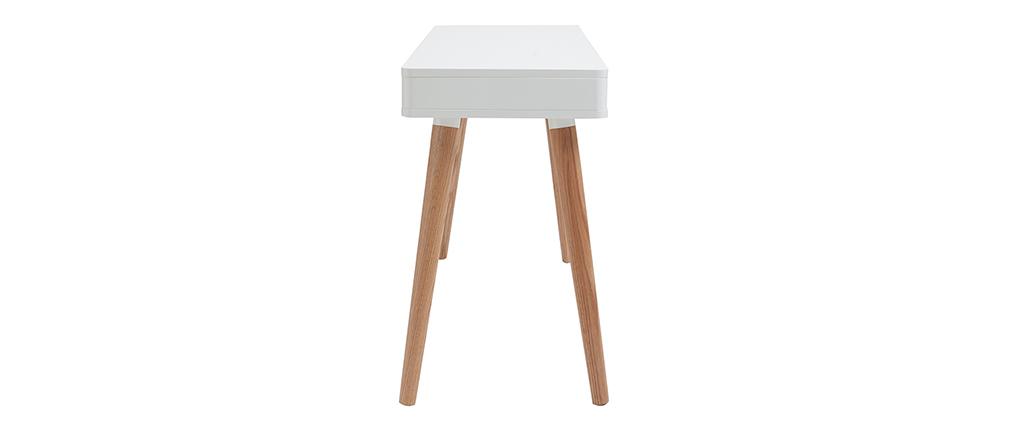 Scrivania design scandinava bianca e legno L115 cm TOTEM