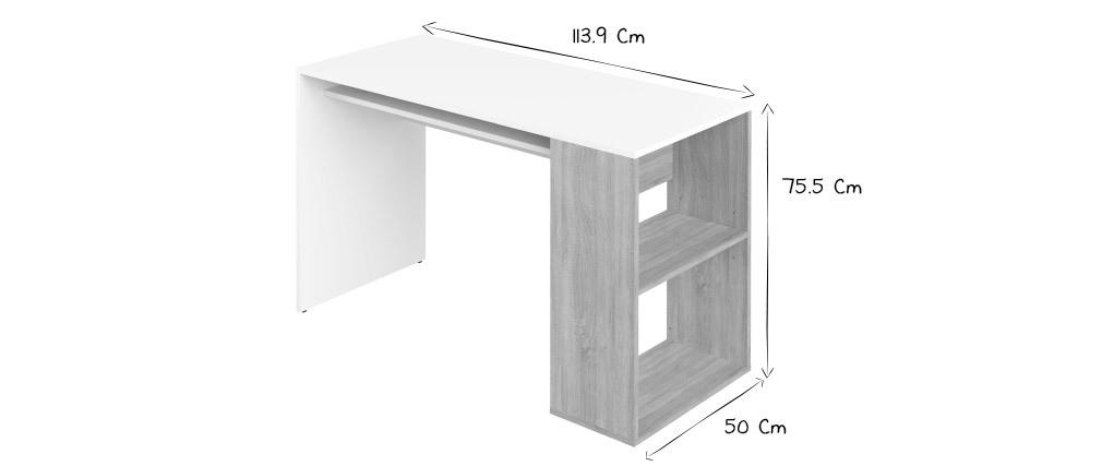 Scrivania di design bianca e legno chiaro L114 cm ROUSSO