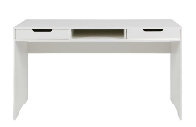 Scrivania di design in abete colore bianco sporco cassetti