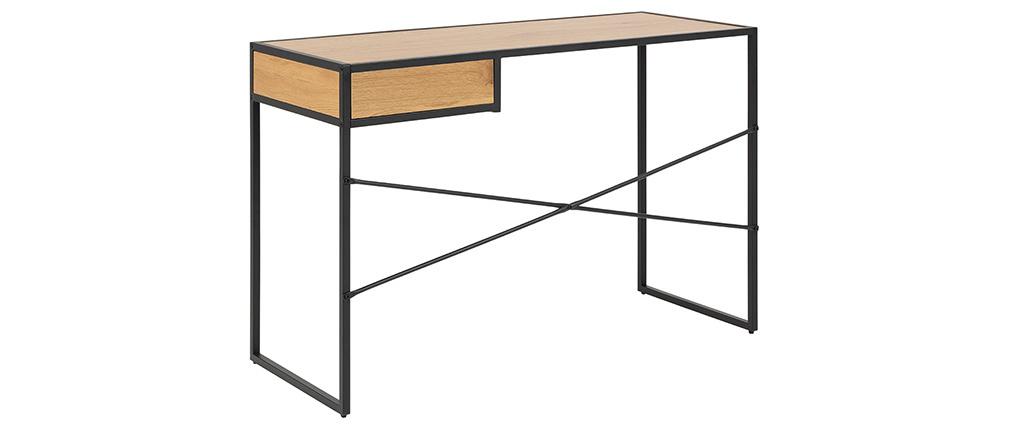 Scrivania industriale metallo nero e legno TRESCA