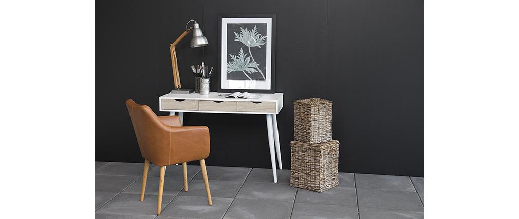 Scrivania scandinava bianca e legno BALZAC