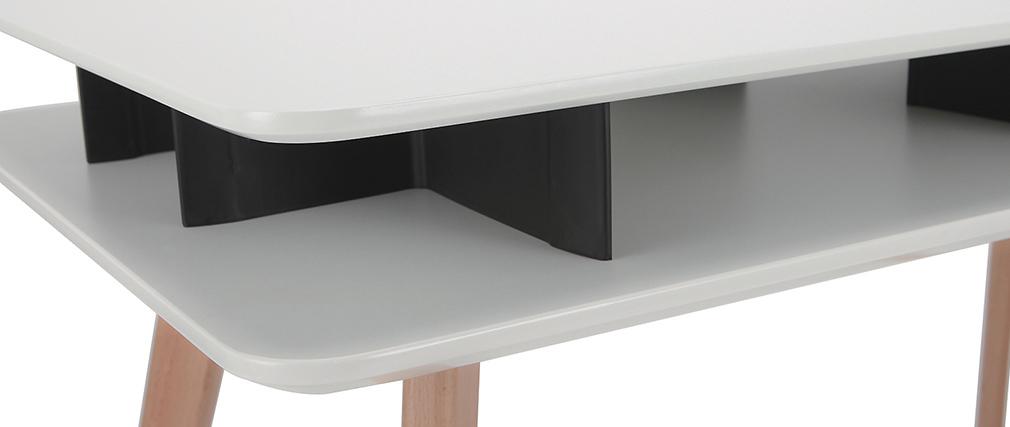 Scrivania scandinava Bianco e Nero con spazi per riporre i propri oggetti e piedi in legno LEVY