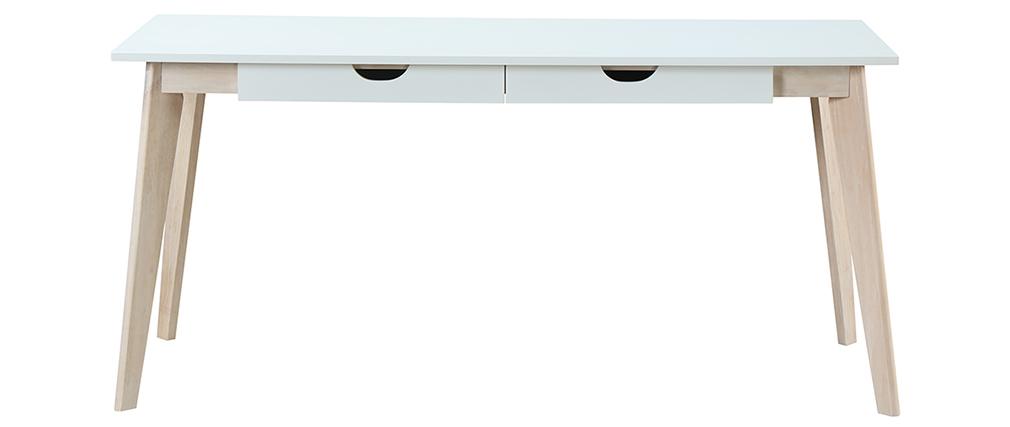 Scrivania scandinava con cassetti legno bianca L160 LEENA