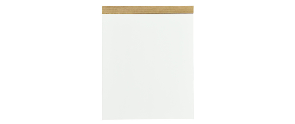 Scrivania scandinava con cassetto aperto bianco e mobiletto RACKEL