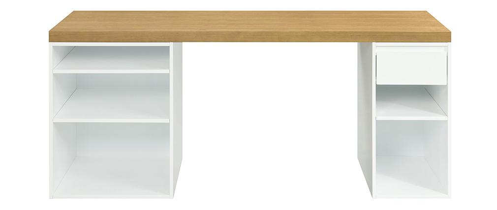 Scrivania scandinava con scatole aperte e cassetto bianco RACKEL