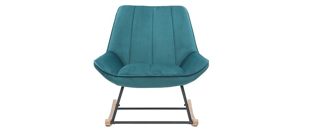 Sedia a dondolo Billie di design in velluto blu petrolio