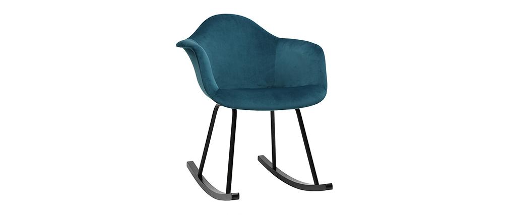 Sedia a dondolo design effetto velluto blu petrolio MAMBO