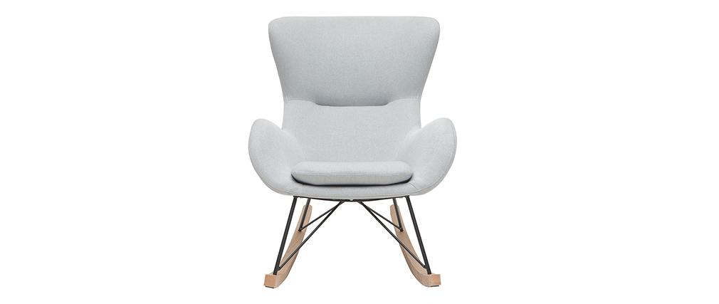 Sedia a dondolo design in tessuto grigio chiaro ESKUA