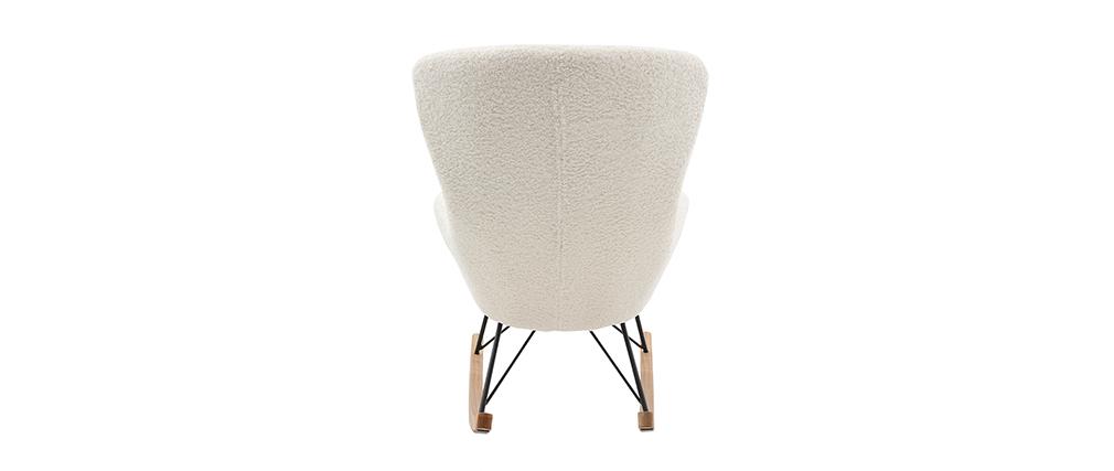 Sedia a dondolo design in tessuto pelle di pecora bianca ESKUA