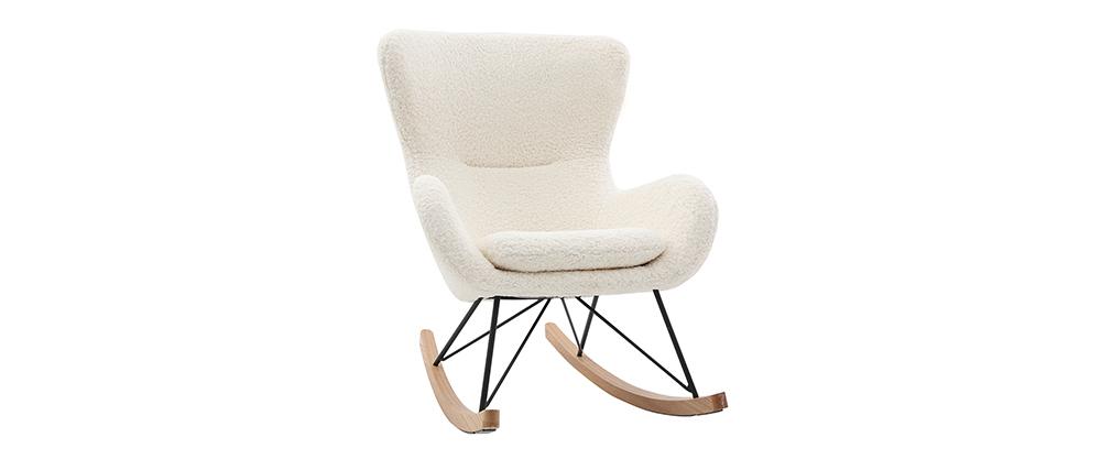 Sedia a dondolo design tessuto bianco effetto pelle di pecora ESKUA