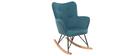 Sedia a dondolo design tessuto blu piedi metallo e quercia BABY BRISTOL