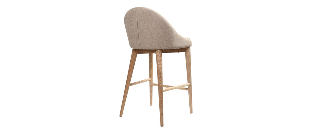 Sedia alta design legno poliestere beige DALIA