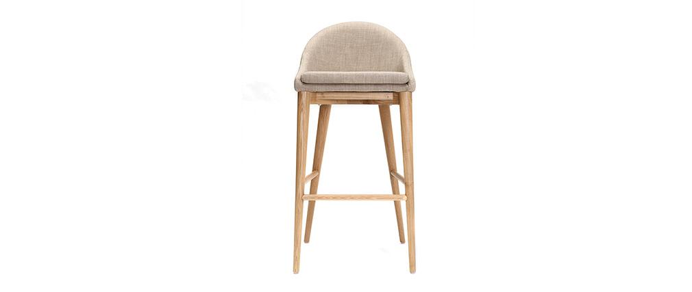 Sedia alta design legno poliestere beige SHANA 75 cm