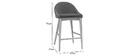 Sedia alta design legno poliestere grigio antracite DALIA