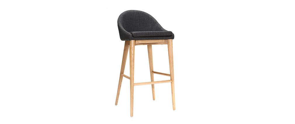Sedia alta design legno poliestere grigio antracite SHANA 75 cm