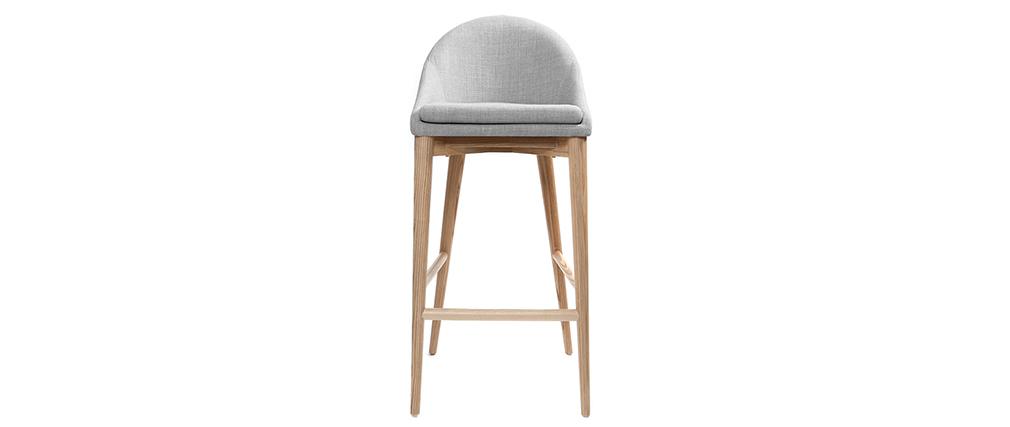 Sedia alta design legno poliestere grigio chiaro SHANA 75 cm