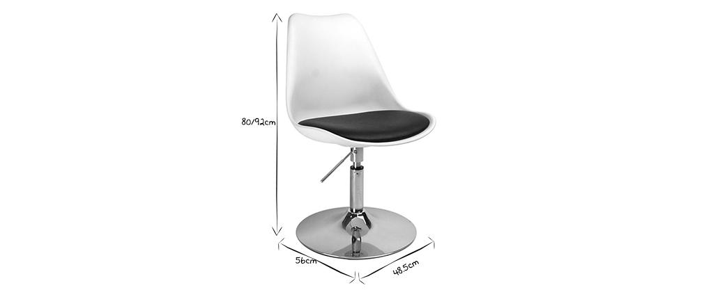 Sedia bianca girevole e regolabile in altezza STEEVY
