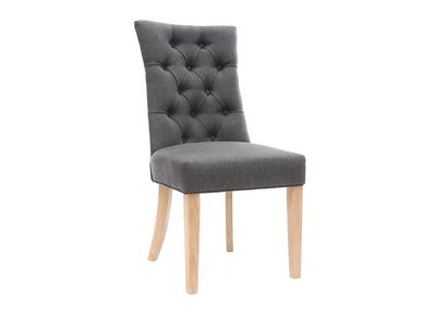 Sedia classica, in tessuto, colore: Grigio scuro, con piedi in legno chiaro, modello: VOLTAIRE