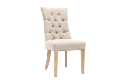 Sedia classica, in tessuto naturale, con piedi in legno chiaro, modello: VOLTAIRE