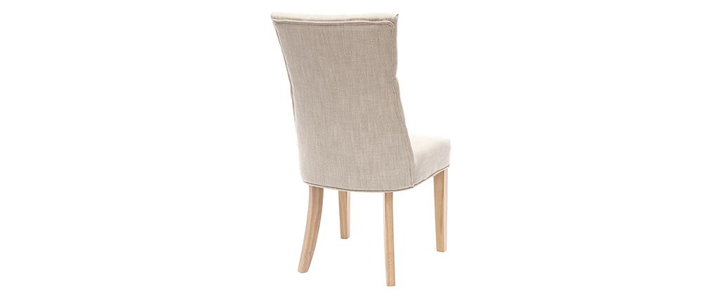 Sedia classica in tessuto naturale con piedi in legno chiaro VOLTAIRE