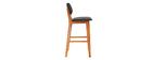 Sedia da bar design in legno di noce Nero 65 cm NORDECO