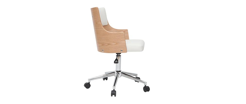 Sedia da ufficio design Bianco e legno chiaro con cuscino integrato MAYOL