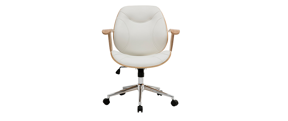 Sedia da ufficio design bianco e legno chiaro YORKE