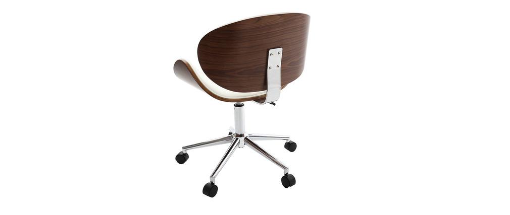 Sedia da ufficio design colore bianco e legno walnut miliboo for Design sedia ufficio