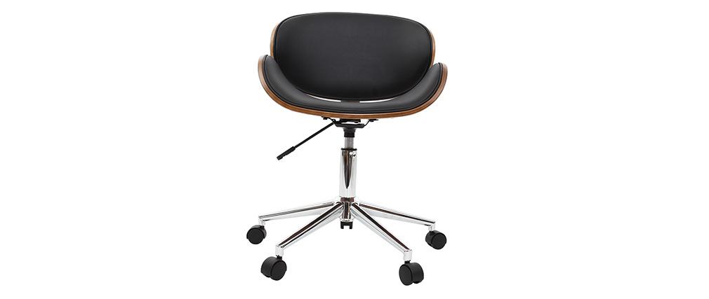 Sedia da ufficio design colore nero e legno WALNUT