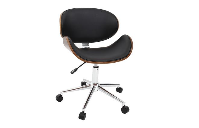 Sedie Ufficio Desing : Sedia da ufficio design colore nero e legno walnut miliboo