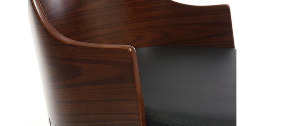 Sedia da ufficio design in poliuretano Nero e noce MAYOL