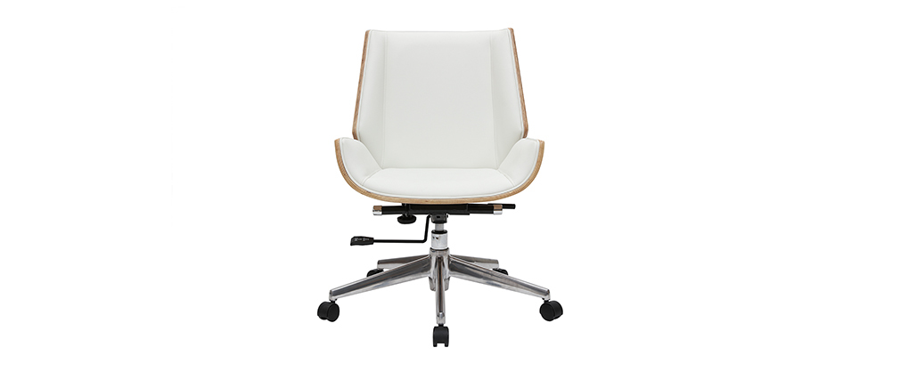 Sedia da ufficio design legno chiaro e bianco CURVED