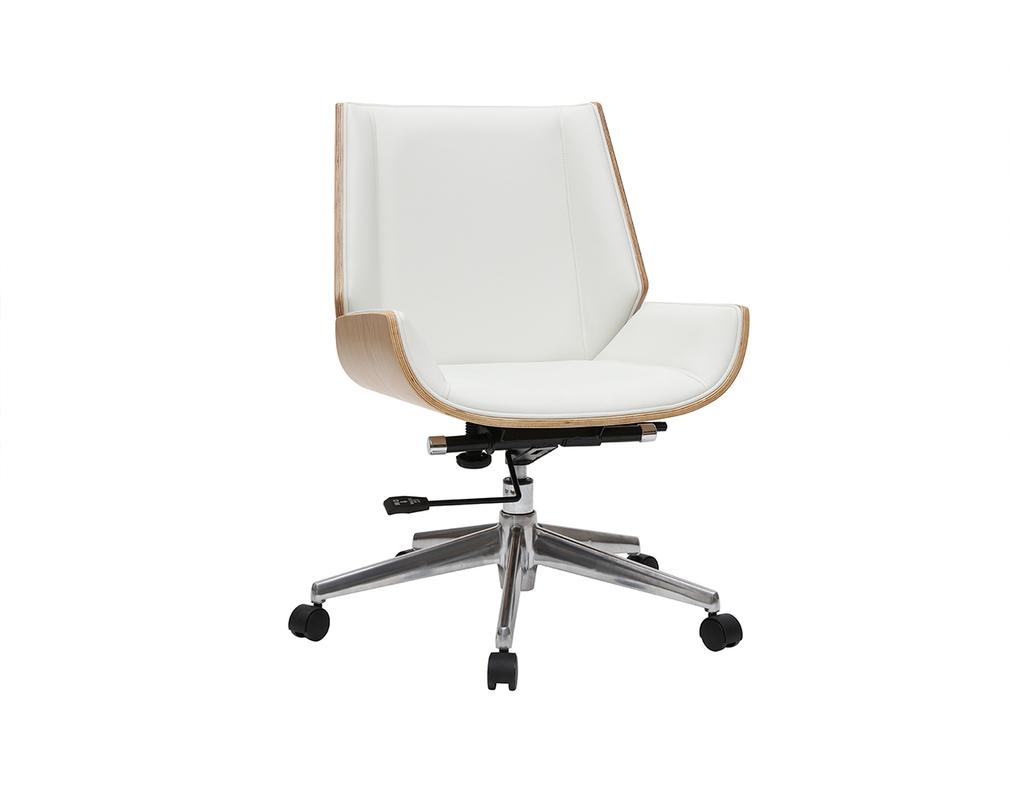 Sedia Da Ufficio Design Legno Chiaro E Bianco Curved Miliboo