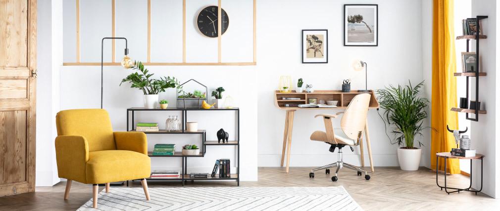 Sedia da ufficio design nero e legno scuro YORKE