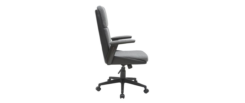 Sedia da ufficio di design grigio scuro e nero TIM - Miliboo