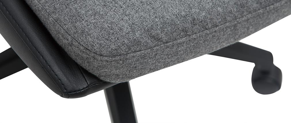 Sedia da ufficio di design grigio scuro e nero TIM