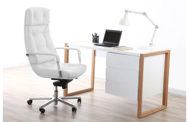 Sedia da ufficio in pelle bianca ADAGIO - Miliboo