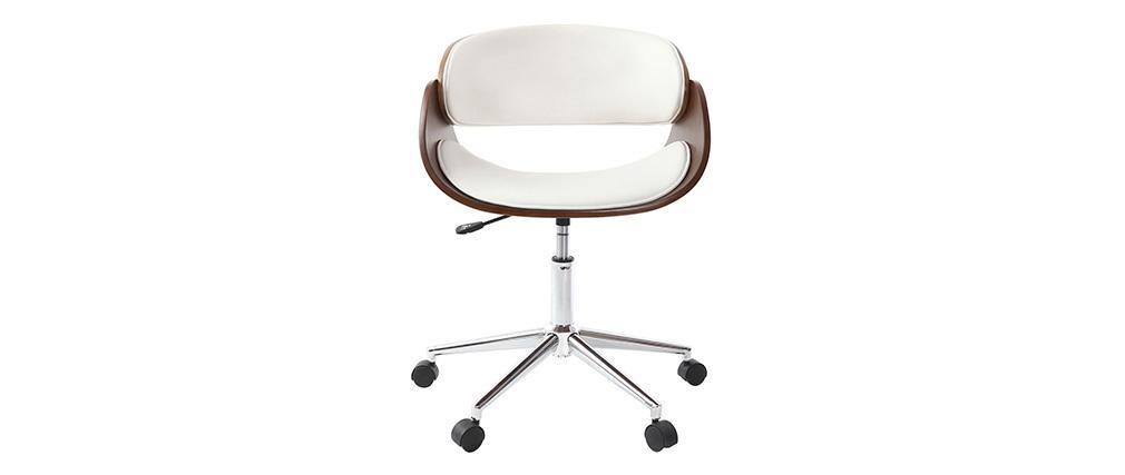 Sedia design a rotelle bianca e legno color noce BENT