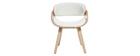 Sedia design bianco e legno chiaro BENT