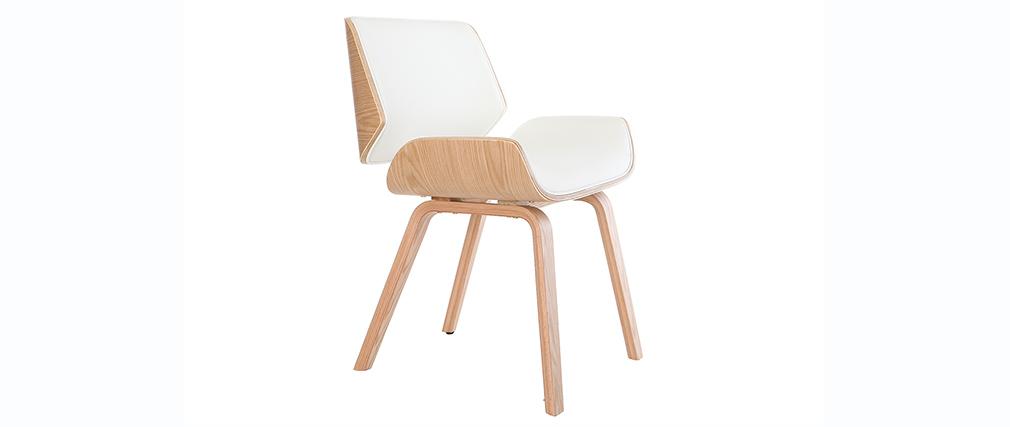 Sedia design bianco e legno chiaro RUBBENS