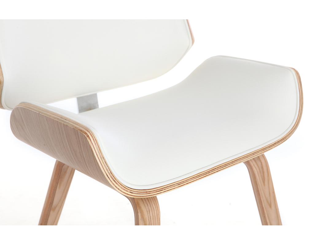 Sedia design bianco e legno chiaro RUBBENS Miliboo
