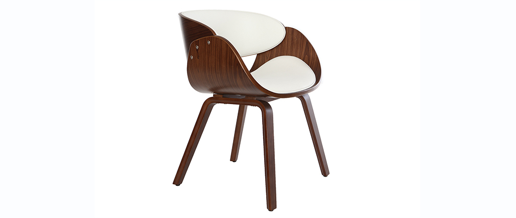 Sedia design Bianco e legno scuro noce BENT